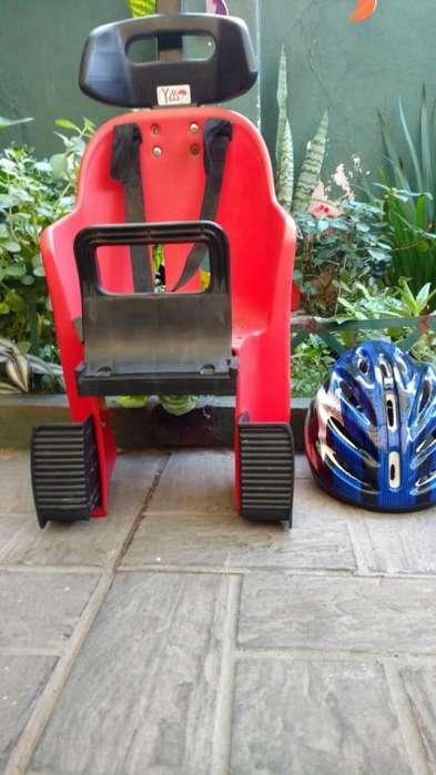 silla para bici mas casco