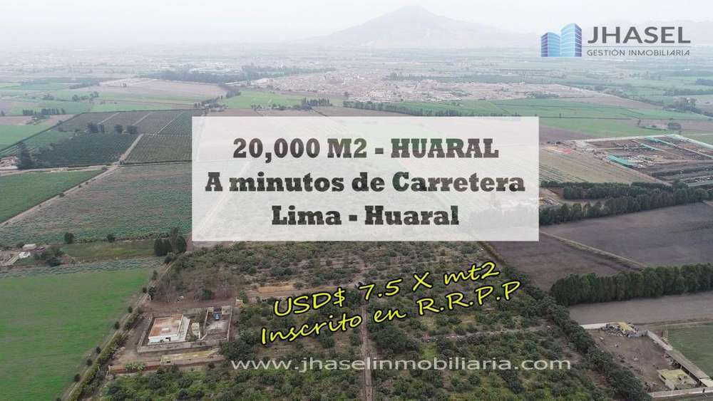 VENDO TERRENO AGRÍCOLA DE 20,000 MT2 EN HUARAL