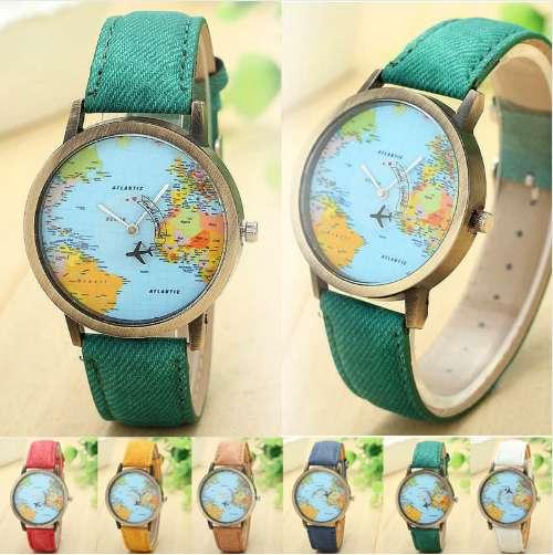Reloj Viajero - Mapamundi - Vintage