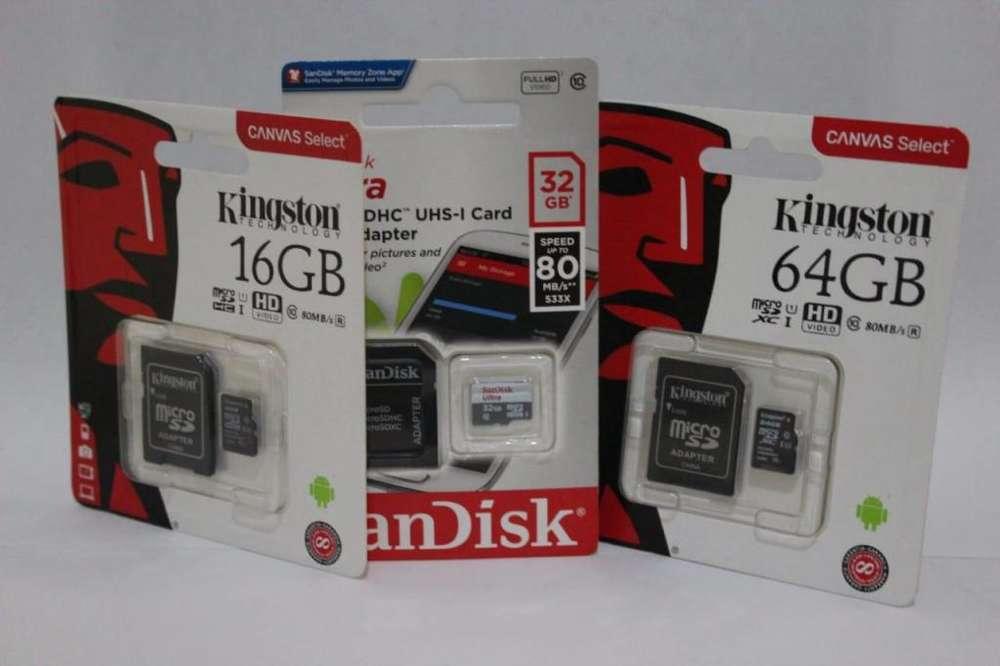 MEMORIAS MICRO SD 16GB 32GB 64GB EXCELENTES PRECIOS!!!