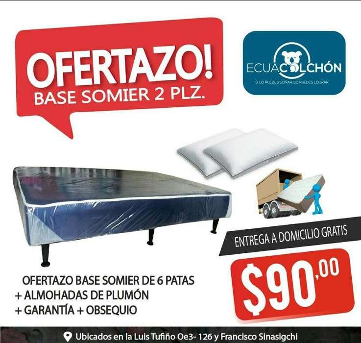 BASES SOMIER 2 PLZ BOX , ALMOHADAS , OBSEQUIO , COLCHONES, ** 0960705637 **