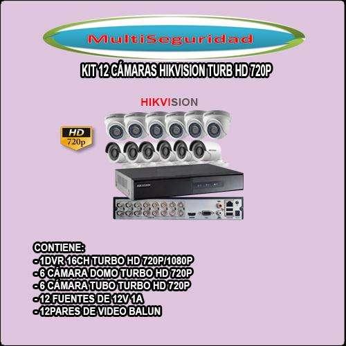 KIT HIKVISION TURBO HD 720P 12 CÁMARAS DVR 16CH ACCESOSRIOS INCLUYE IVA