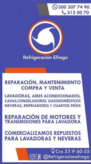Servicio para neveras, lavadoras y aires acondicionados. Teléfonos 5120070-300307749