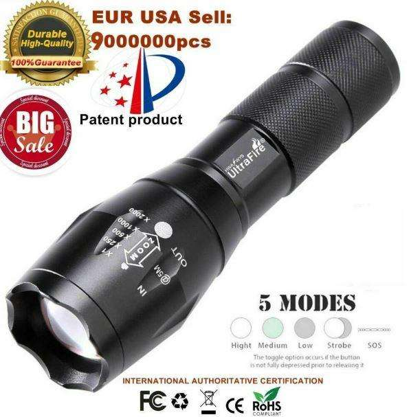 T6 LED Linterna táctica antorcha ampliable 50000lm 5 modos para 18650