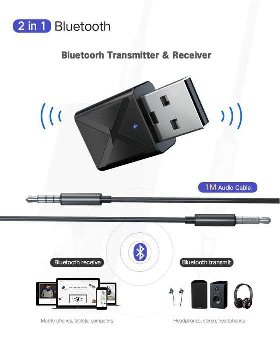 Bluetooth 5.0 Transmisor Receptor de Audio Para TV PC