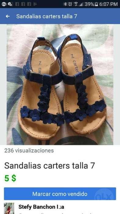 Sandalias Niña Carters Talla 7 O 23