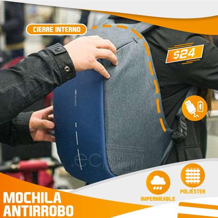 <strong>mochila</strong> ANTIRROBO - CIERRE OCULTO CABLE USB