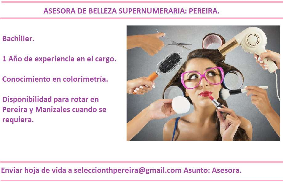Promotora de maquillaje/ cosméticos y tintura - Asesora de Belleza - Estilista supernumeria
