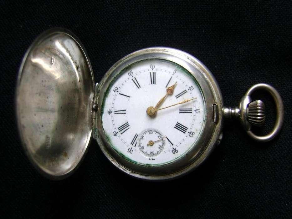 Hermoso reloj de bolsillo 3 tapas caja en plata funciona / Maxim Nord