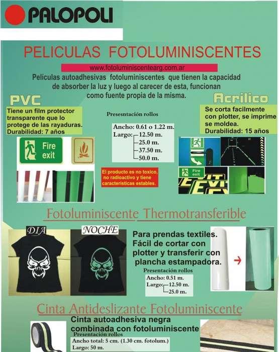 Rollo Autoadhesivo Fotoluminiscente 0.61x12.50m Palopoli Pvc Corte e Impresion