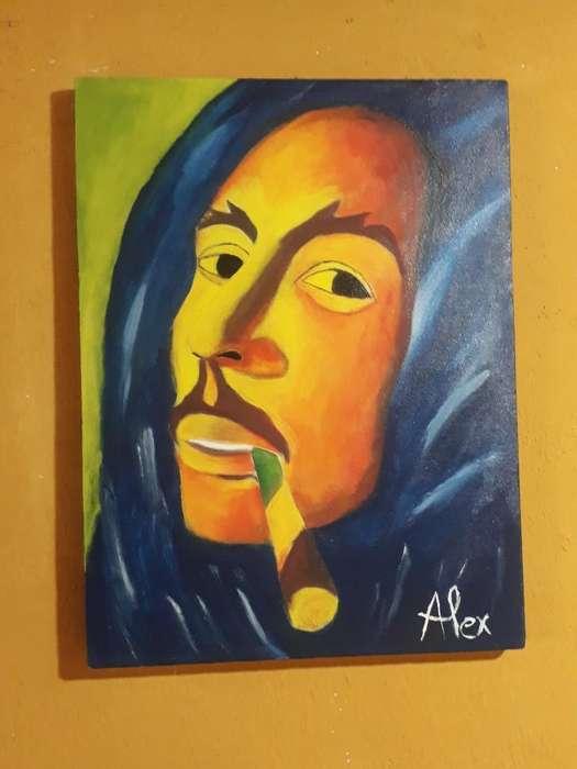 Bob Marley: Acrilico sobre Lienzo