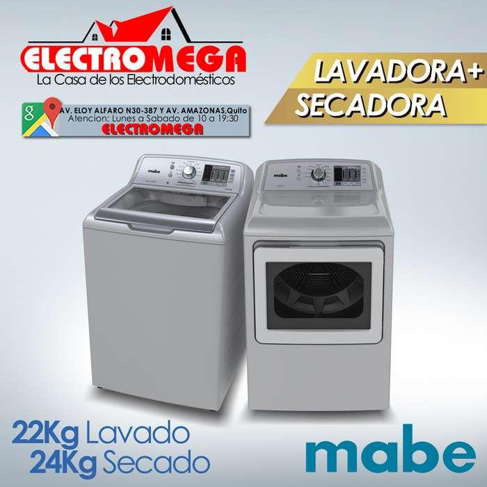 Combo Lavadora y Secadora Electrica Mabe 22 Kg 48 Lbs