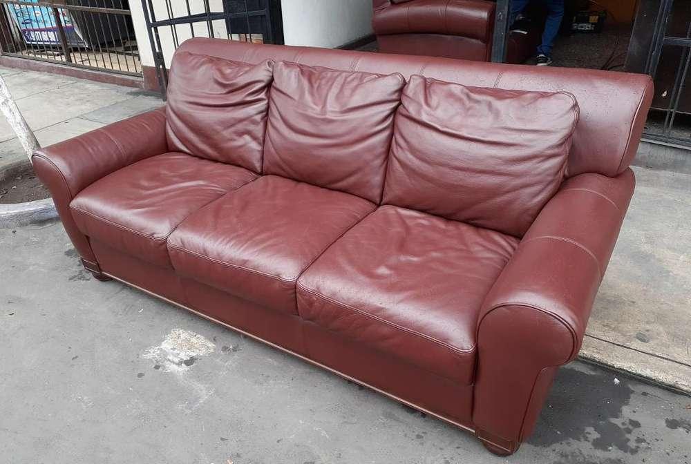 Sofa 03cpos. Ashley clasico 100% cuero genuino movil : 981157699