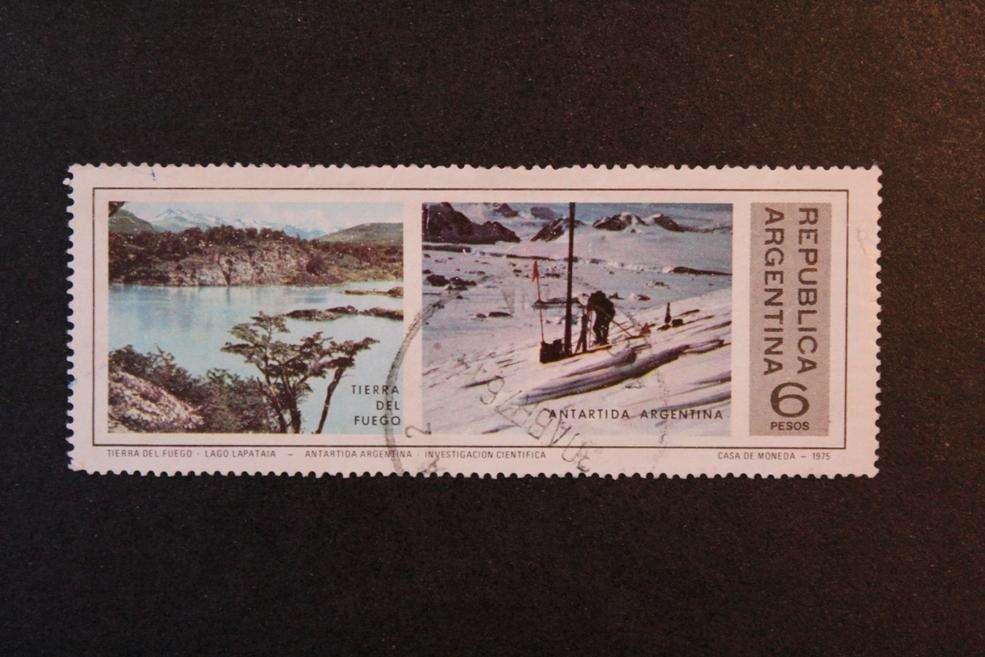 ESTAMPILLA ARGENTINA, 1975, LAGO LAPATAIA E INVESTIGACIÓN CIENTÍFICA EN ANTÁRTIDA, USADA