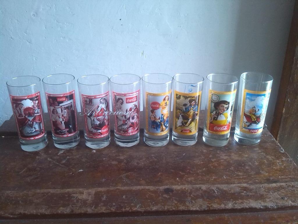8 vasos de Coleccion Coca cola