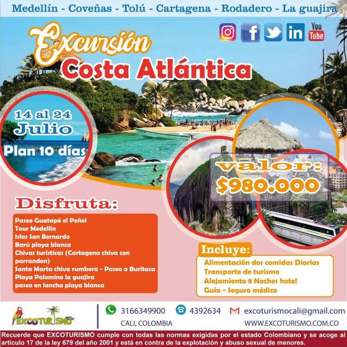 EXCURSION COSTA ATLANTICA PLAN DESDE CALI PALMIRA BUGA PEREIRA plan 2019