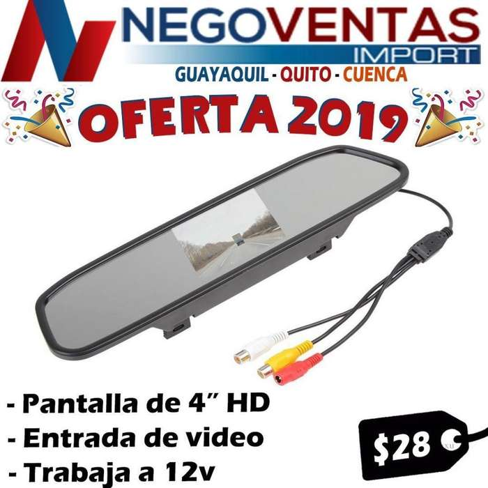 PANTALLA RETROVISOR 4,5 PULG TIPO ESPEJO PARA CAMARA DE RETRO PARA CARRO