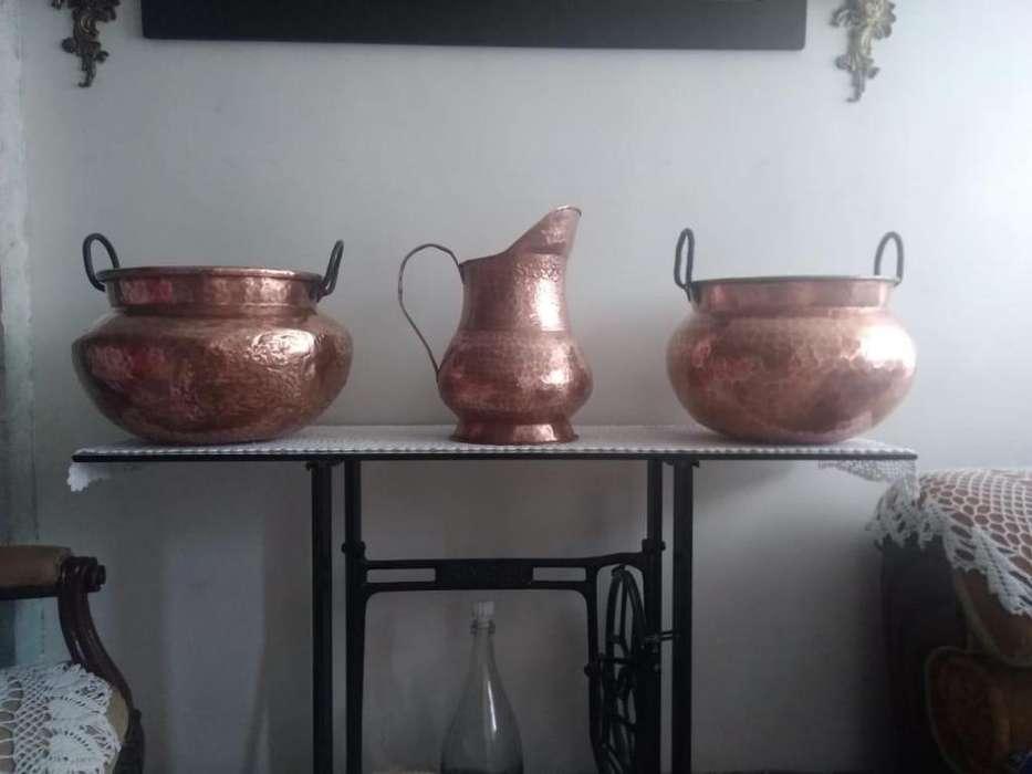 set de ollas grandes en cobre rojo
