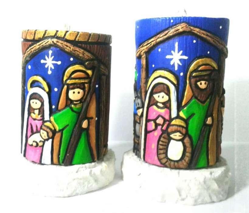 Velas decorativas de navidad, velas talladas, pesebres