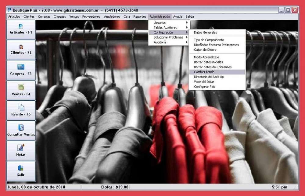 *'BOUTIQUE PLUS '* programa de gestión indumentaria - factura ELECTRÓNICA -software GDS SISTEMAS