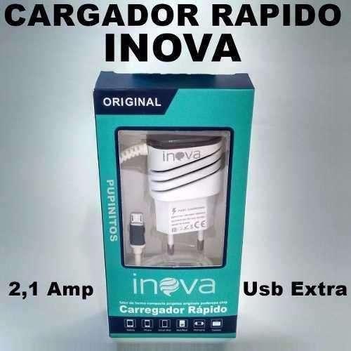 Cargador Rapido celulares 3a 2 Usb Inova