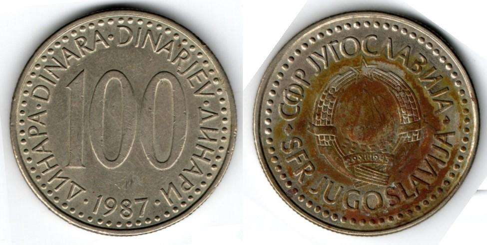YUGOSLAVIA. MONEDA. 100 DINARES. 1987. KM 114. 94 M UNIDADES. ESTADO 6 DE 10. VALOR 1600