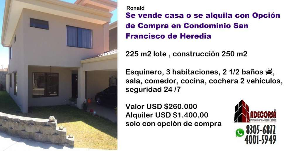 CASA EN CONDOMINIO EN SAN FRANCISCO DE HEREDIA - wasi_1095035
