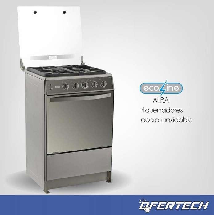 <strong>cocina</strong> a gas Ecoline 4 quemadores Inox