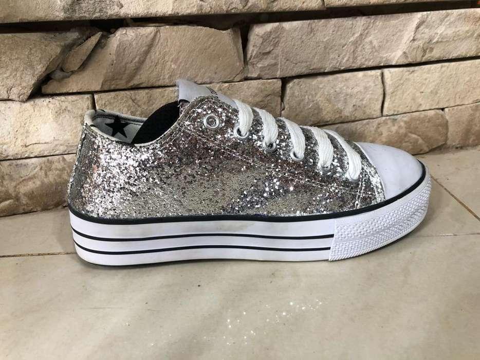Zapatillas de Glitter Talle 37/8