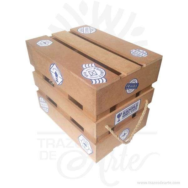 Caja regalo tipo guacal en MDF 28 X 20 X 24 cm decorada – Precio COP