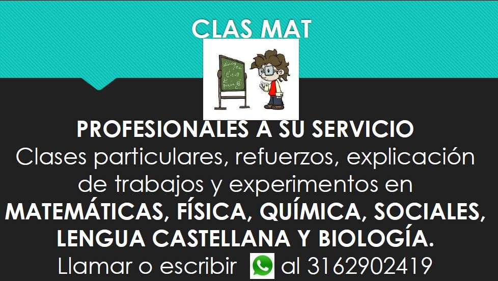 Se dictan clases de Matemáticas, Física, Química, Biología, Sociales y Lengua castellaña