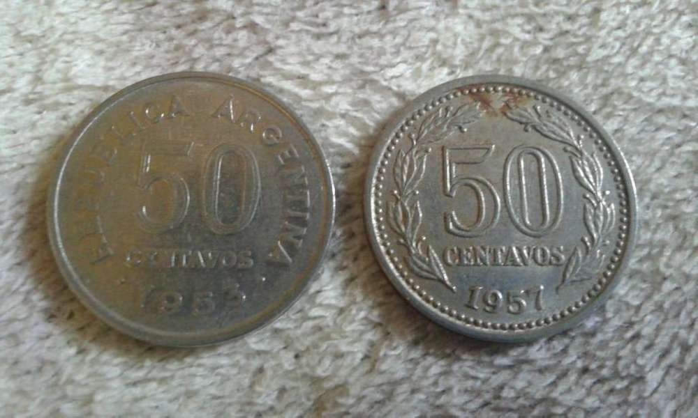 Moneda Argentina De 50 Centavos 1957 y 1953
