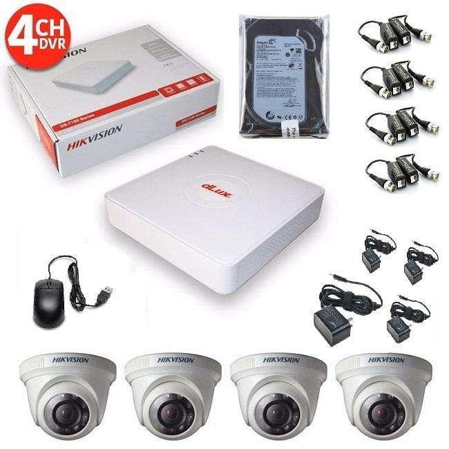 kit de 4 camaras seguridad turbo HD hikvision 720p, disco 500gb CCTV