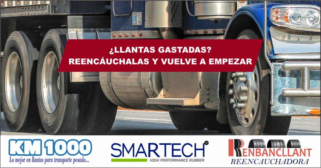 Llantas reencauchadas y servicio de reencauche de alto rendimiento kilométrico para trasporte pesado a Domicilio