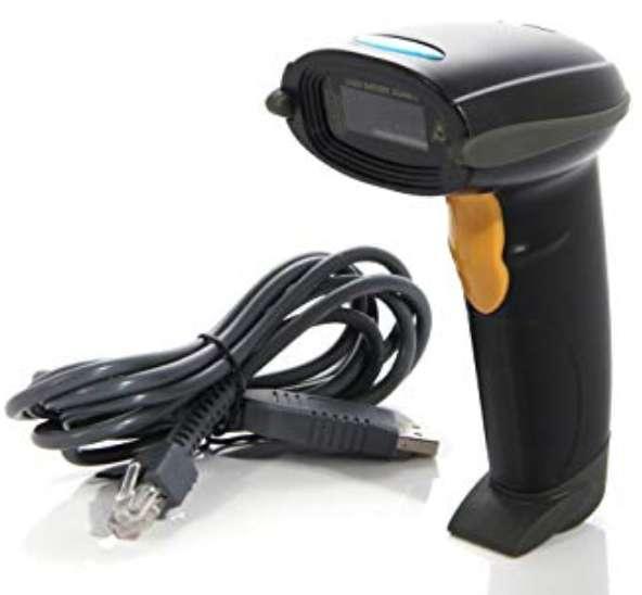 Escáner Código de Barras Automático Puerto USB Soporte, negro hasta código 10000