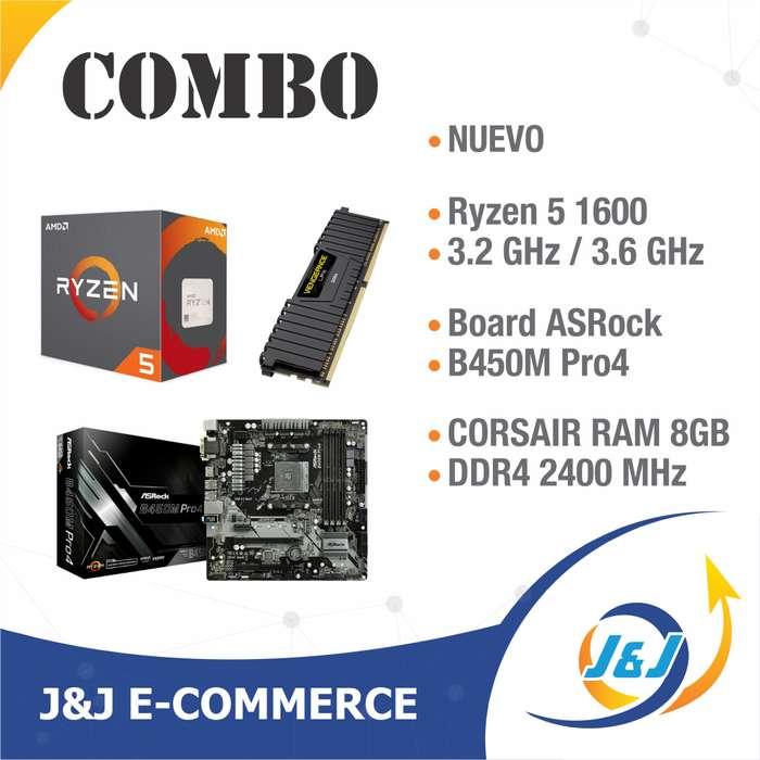 NUEVO COMBO ESTRENAR PROCESADOR RYZEN 5 1600 3.2 GHz, BOARD ASROCK B450M PRO 4, RAM 8GB CORSAIR DDR4 BITCOIN