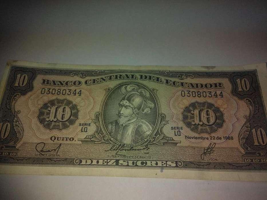 Billete de 10 sucres Ecuador año 1988 en muy buenas condiciones .12