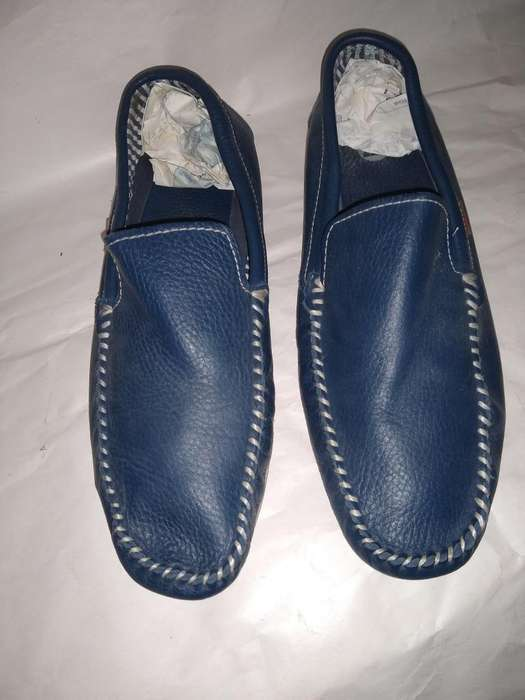 Zapatos Mocasines Náuticos 43 PIZZONI Cuero AZUL USE 3 VECES