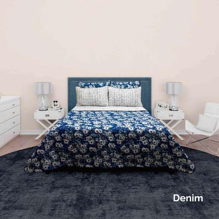 Colcha para <strong>cama</strong> doble estampada acolchado ultrasonido doble faz