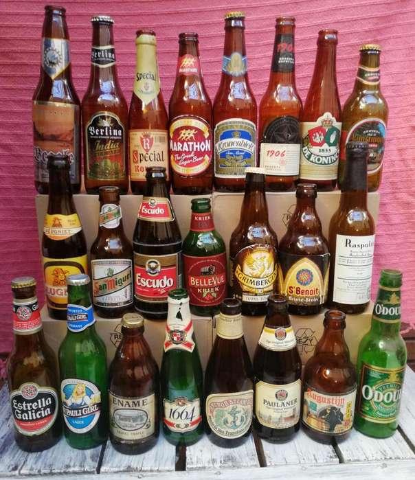 Colección de botellas de cervezas de todo el mundo