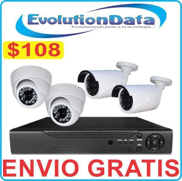 ENVIO GRATIS Kit Economico 4 Camaras CCTV DVR Sistema Seguridad COMPLETO
