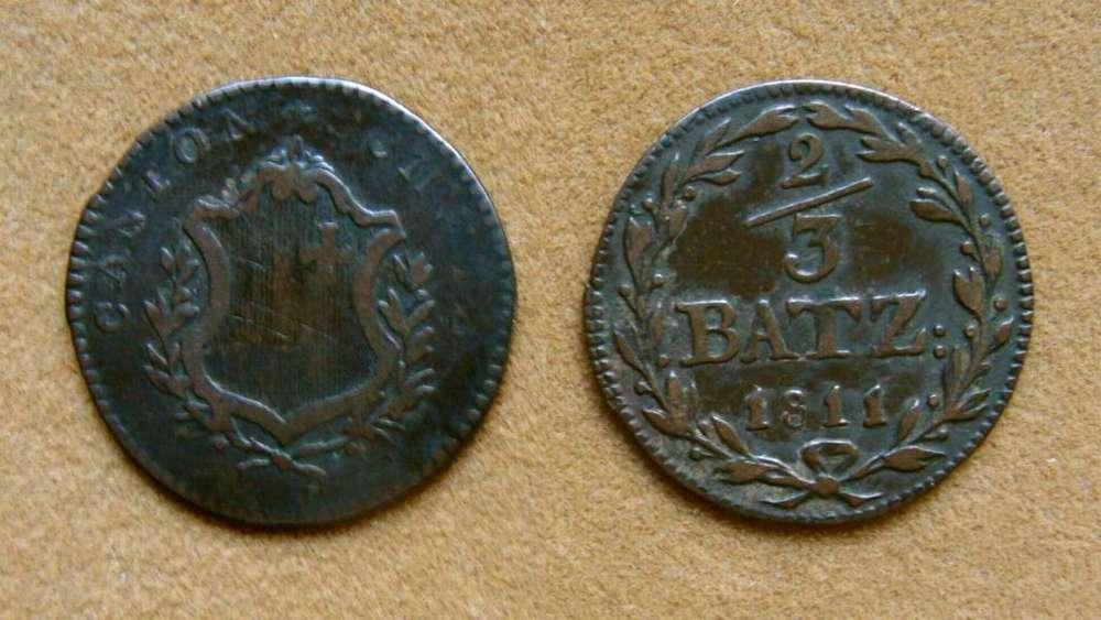 Moneda de 2/3 de batzen Cantón Schwyz Suiza 1811
