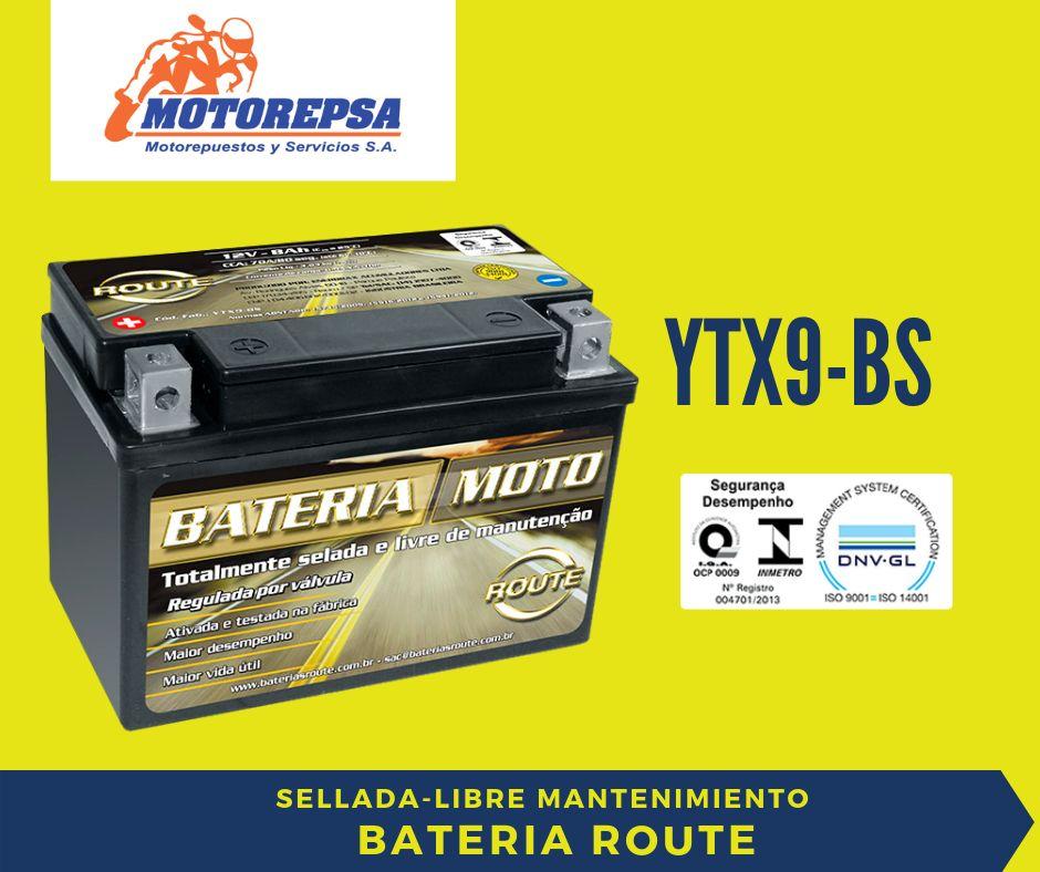 Bateria ROUTE para MOTO YTX9BS / 12v8Ah