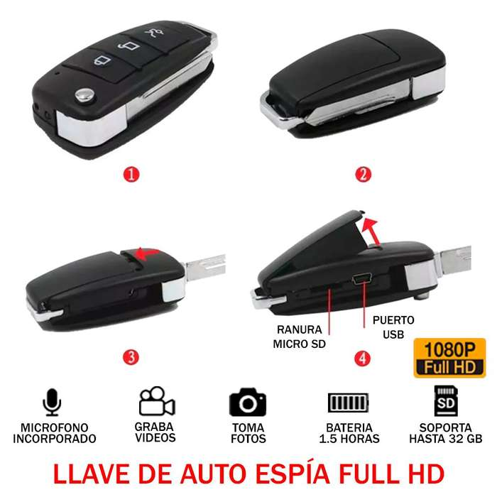 Camara Espia Llave Auto Carro Full Hd 1080p 32gb