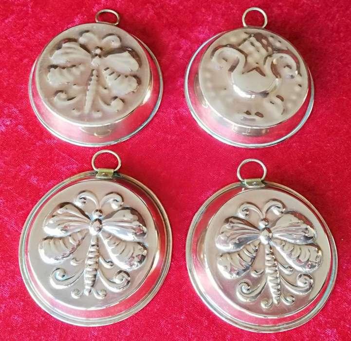 4 Antiguos adornos de cobre para colgar