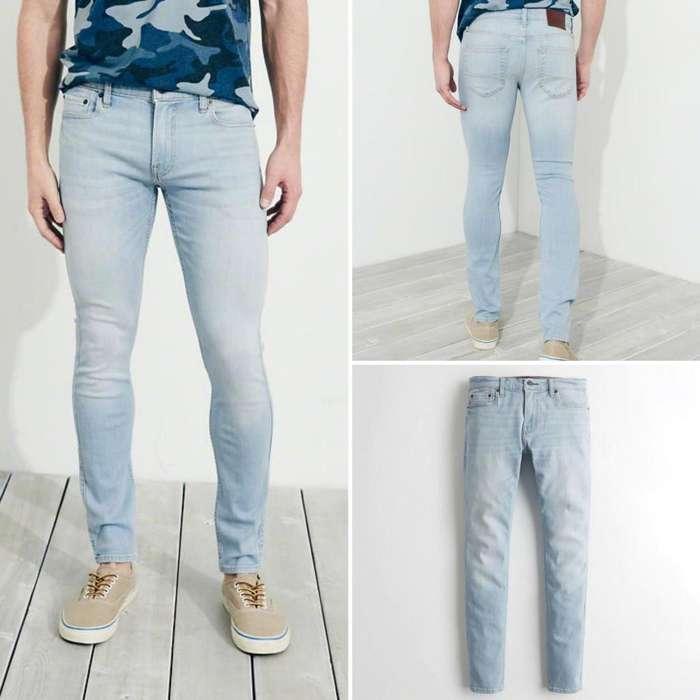 103b71b396 Pantalón Jeans Hollister Extreme Skinny Talla 32 x32 Para Hombre Pitillo  Color Celeste Claro