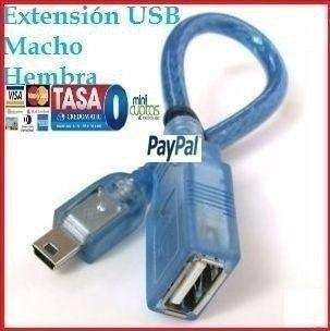 Cable De Datos Mini Usb Macho Usb Hembra 5 Pin Reproductor Mp3 Mp4
