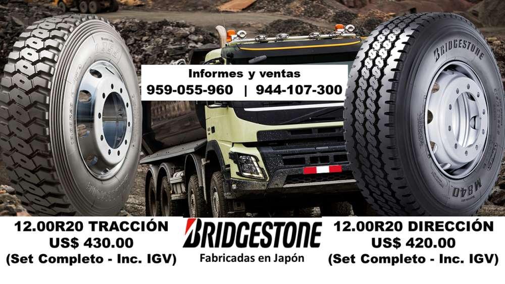 LLANTAS PARA VOLQUETE 12.00R20 BRIDGESTONE (Fabricadas en Japón)