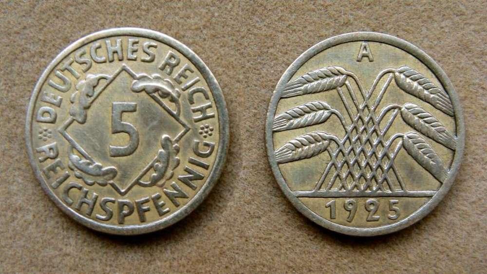 Moneda de 5 rentenpfennig Rep. de Weimar, Alemania 1924 A