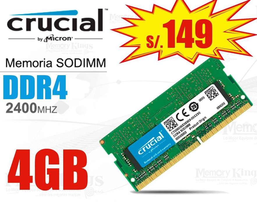 <strong>memoria</strong> Ram Ddr4 Crucial y Kingston de 4GB y 8GB, NUEVAS!